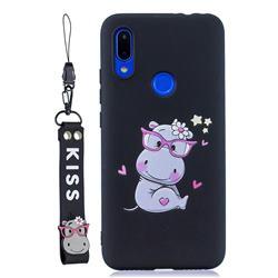 Black Flower Hippo Soft Kiss Candy Hand Strap Silicone Case for Xiaomi Mi Redmi Note 7 / Note 7 Pro