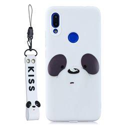 White Feather Panda Soft Kiss Candy Hand Strap Silicone Case for Xiaomi Mi Redmi Note 7 / Note 7 Pro