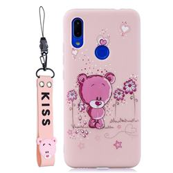 Pink Flower Bear Soft Kiss Candy Hand Strap Silicone Case for Xiaomi Mi Redmi Note 7 / Note 7 Pro