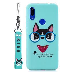 Green Glasses Dog Soft Kiss Candy Hand Strap Silicone Case for Xiaomi Mi Redmi Note 7 / Note 7 Pro