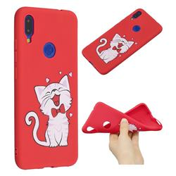 Happy Bow Cat Anti-fall Frosted Relief Soft TPU Back Cover for Xiaomi Mi Redmi Note 7 / Note 7 Pro