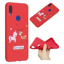 Unicorn Deer Anti-fall Frosted Relief Soft TPU Back Cover for Xiaomi Mi Redmi Note 7 / Note 7 Pro