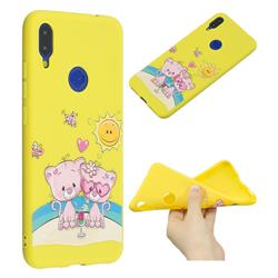 Pink Bear Couple Anti-fall Frosted Relief Soft TPU Back Cover for Xiaomi Mi Redmi Note 7 / Note 7 Pro