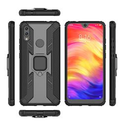 Predator Armor Metal Ring Grip Shockproof Dual Layer Rugged Hard Cover for Xiaomi Mi Redmi Note 7 / Note 7 Pro - Black