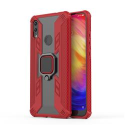 Predator Armor Metal Ring Grip Shockproof Dual Layer Rugged Hard Cover for Xiaomi Mi Redmi Note 7 / Note 7 Pro - Red