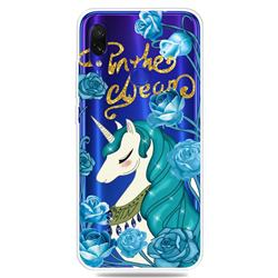 Blue Flower Unicorn Clear Varnish Soft Phone Back Cover for Xiaomi Mi Redmi Note 7 / Note 7 Pro