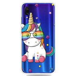 Glasses Unicorn Clear Varnish Soft Phone Back Cover for Xiaomi Mi Redmi Note 7 / Note 7 Pro