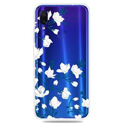 Magnolia Flower Clear Varnish Soft Phone Back Cover for Xiaomi Mi Redmi Note 7 / Note 7 Pro