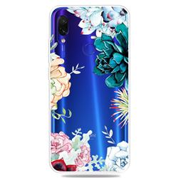 Gem Flower Clear Varnish Soft Phone Back Cover for Xiaomi Mi Redmi Note 7 / Note 7 Pro