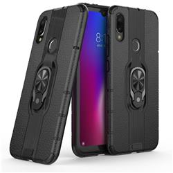 Alita Battle Angel Armor Metal Ring Grip Shockproof Dual Layer Rugged Hard Cover for Xiaomi Mi Redmi Note 7 / Note 7 Pro - Black