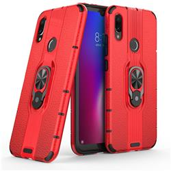 Alita Battle Angel Armor Metal Ring Grip Shockproof Dual Layer Rugged Hard Cover for Xiaomi Mi Redmi Note 7 / Note 7 Pro - Red