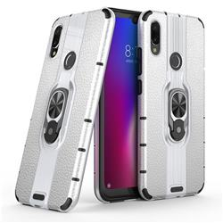 Alita Battle Angel Armor Metal Ring Grip Shockproof Dual Layer Rugged Hard Cover for Xiaomi Mi Redmi Note 7 / Note 7 Pro - Silver