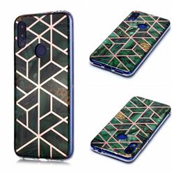 Green Rhombus Galvanized Rose Gold Marble Phone Back Cover for Xiaomi Mi Redmi Note 7 / Note 7 Pro