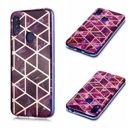 Purple Rhombus Galvanized Rose Gold Marble Phone Back Cover for Xiaomi Mi Redmi Note 7 / Note 7 Pro