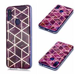 Purple Rhombus Galvanized Rose Gold Marble Phone Back Cover for Xiaomi Mi Redmi Note 7 / Note 7 Pro