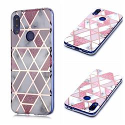 Pink Rhombus Galvanized Rose Gold Marble Phone Back Cover for Xiaomi Mi Redmi Note 7 / Note 7 Pro