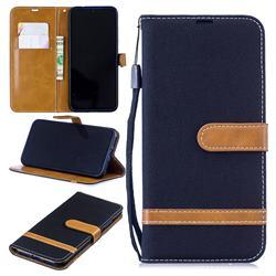 Jeans Cowboy Denim Leather Wallet Case for Xiaomi Mi Redmi Note 7 / Note 7 Pro - Black