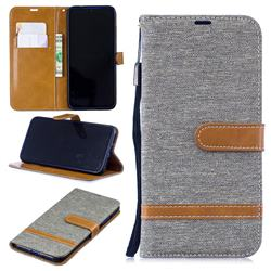 Jeans Cowboy Denim Leather Wallet Case for Xiaomi Mi Redmi Note 7 / Note 7 Pro - Gray
