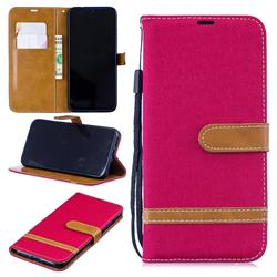 Jeans Cowboy Denim Leather Wallet Case for Xiaomi Mi Redmi Note 7 / Note 7 Pro - Red