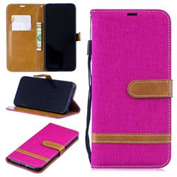 Jeans Cowboy Denim Leather Wallet Case for Xiaomi Mi Redmi Note 7 / Note 7 Pro - Rose