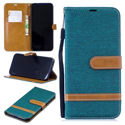 Jeans Cowboy Denim Leather Wallet Case for Xiaomi Mi Redmi Note 7 / Note 7 Pro - Green