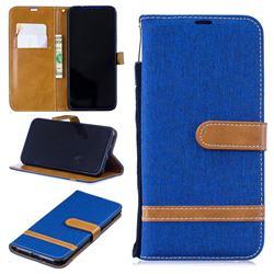 Jeans Cowboy Denim Leather Wallet Case for Xiaomi Mi Redmi Note 7 / Note 7 Pro - Sapphire
