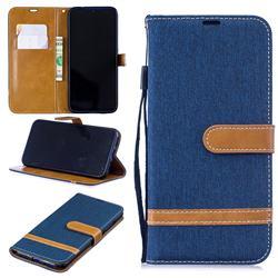 Jeans Cowboy Denim Leather Wallet Case for Xiaomi Mi Redmi Note 7 / Note 7 Pro - Dark Blue