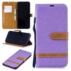 Jeans Cowboy Denim Leather Wallet Case for Xiaomi Mi Redmi Note 7 / Note 7 Pro - Purple