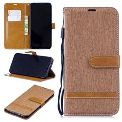 Jeans Cowboy Denim Leather Wallet Case for Xiaomi Mi Redmi Note 7 / Note 7 Pro - Brown