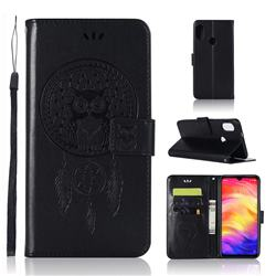 Intricate Embossing Owl Campanula Leather Wallet Case for Xiaomi Mi Redmi Note 7 / Note 7 Pro - Black
