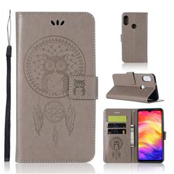 Intricate Embossing Owl Campanula Leather Wallet Case for Xiaomi Mi Redmi Note 7 / Note 7 Pro - Grey