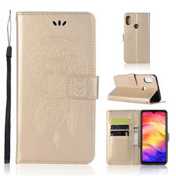 Intricate Embossing Owl Campanula Leather Wallet Case for Xiaomi Mi Redmi Note 7 / Note 7 Pro - Champagne
