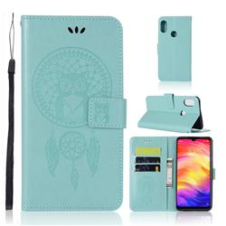 Intricate Embossing Owl Campanula Leather Wallet Case for Xiaomi Mi Redmi Note 7 / Note 7 Pro - Green