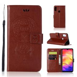 Intricate Embossing Owl Campanula Leather Wallet Case for Xiaomi Mi Redmi Note 7 / Note 7 Pro - Brown