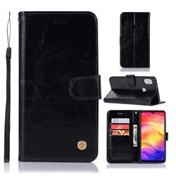 Luxury Retro Leather Wallet Case for Xiaomi Mi Redmi Note 7 / Note 7 Pro - Black