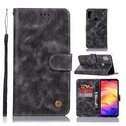 Luxury Retro Leather Wallet Case for Xiaomi Mi Redmi Note 7 / Note 7 Pro - Gray