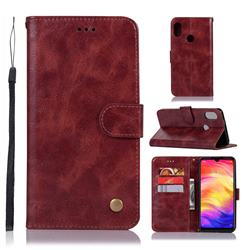 Luxury Retro Leather Wallet Case for Xiaomi Mi Redmi Note 7 / Note 7 Pro - Wine Red