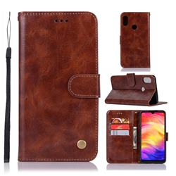 Luxury Retro Leather Wallet Case for Xiaomi Mi Redmi Note 7 / Note 7 Pro - Brown