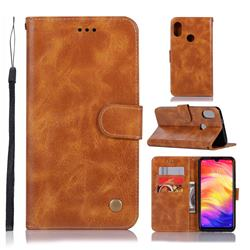 Luxury Retro Leather Wallet Case for Xiaomi Mi Redmi Note 7 / Note 7 Pro - Golden