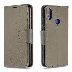 Classic Luxury Litchi Leather Phone Wallet Case for Xiaomi Mi Redmi Note 7 / Note 7 Pro - Gray