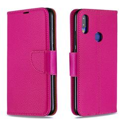 Classic Luxury Litchi Leather Phone Wallet Case for Xiaomi Mi Redmi Note 7 / Note 7 Pro - Rose