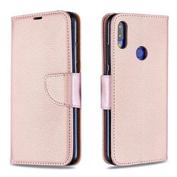 Classic Luxury Litchi Leather Phone Wallet Case for Xiaomi Mi Redmi Note 7 / Note 7 Pro - Golden