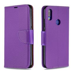 Classic Luxury Litchi Leather Phone Wallet Case for Xiaomi Mi Redmi Note 7 / Note 7 Pro - Purple