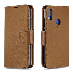Classic Luxury Litchi Leather Phone Wallet Case for Xiaomi Mi Redmi Note 7 / Note 7 Pro - Brown