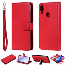 Retro Greek Detachable Magnetic PU Leather Wallet Phone Case for Xiaomi Mi Redmi Note 7 / Note 7 Pro - Red