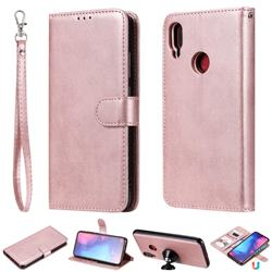 Retro Greek Detachable Magnetic PU Leather Wallet Phone Case for Xiaomi Mi Redmi Note 7 / Note 7 Pro - Rose Gold