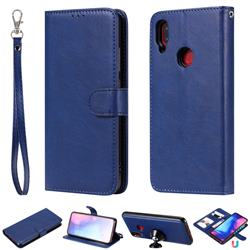 Retro Greek Detachable Magnetic PU Leather Wallet Phone Case for Xiaomi Mi Redmi Note 7 / Note 7 Pro - Blue