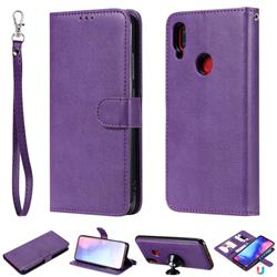 Retro Greek Detachable Magnetic PU Leather Wallet Phone Case for Xiaomi Mi Redmi Note 7 / Note 7 Pro - Purple