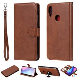 Retro Greek Detachable Magnetic PU Leather Wallet Phone Case for Xiaomi Mi Redmi Note 7 / Note 7 Pro - Brown