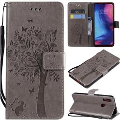 Embossing Butterfly Tree Leather Wallet Case for Xiaomi Mi Redmi Note 7 / Note 7 Pro - Grey